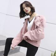 巨厚仿兔绒粉色牛仔外套女冬装2018新款时尚保暖大毛领修身短夹克