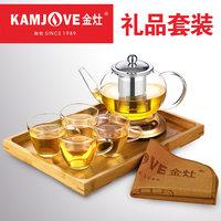 KAMJOVE/金灶 耐热玻璃茶具套装飘逸杯花茶壶泡红茶杯整套茶道