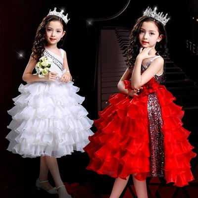 女童礼服斜肩红色蛋糕裙花童连衣裙走秀主持人演出服中大童公主裙