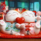 Genuine Lucky Cat Decoration Concentric Couples Cat Wedding Creative Wedding Gift Ceramic Saving Money Piggy Bank