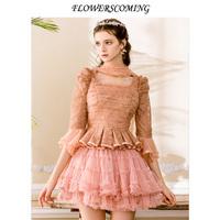花儿开了秋装蕾丝蛋糕裙短裙打底裙拉链网纱蓬蓬裙半身裙公主裙