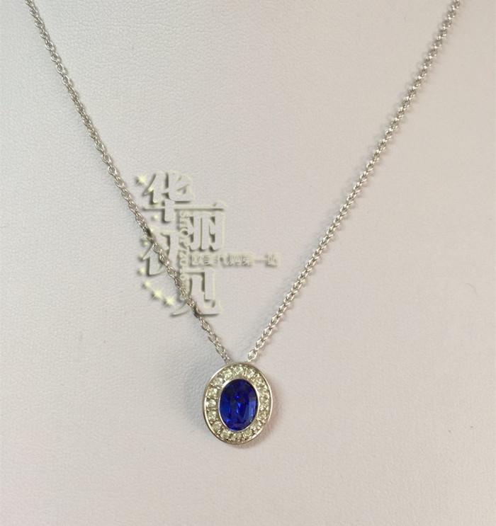 国内现货  美国施华洛世奇专柜蓝色椭圆镶水晶链坠 项链1181632