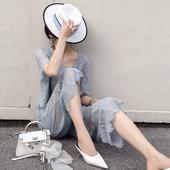 两件套 蓝色蕾丝套装 新款 女镂空v领上衣阔腿七分裤 短袖 2019春夏装