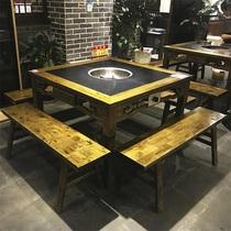 旋转小火锅设备自助餐台全套回转麻辣烫串串香涮烤一体式火锅桌