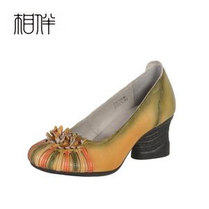 相伴手工原创复古民族风真皮女鞋牛皮花朵舒适中跟浅口文艺单鞋春