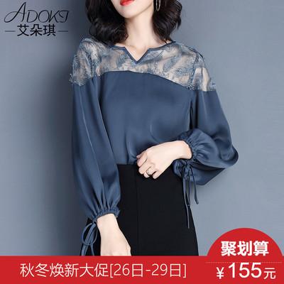 秋装女2018新款时尚上衣气质OL洋气镂空蕾丝小衫早秋雪纺衫女长袖