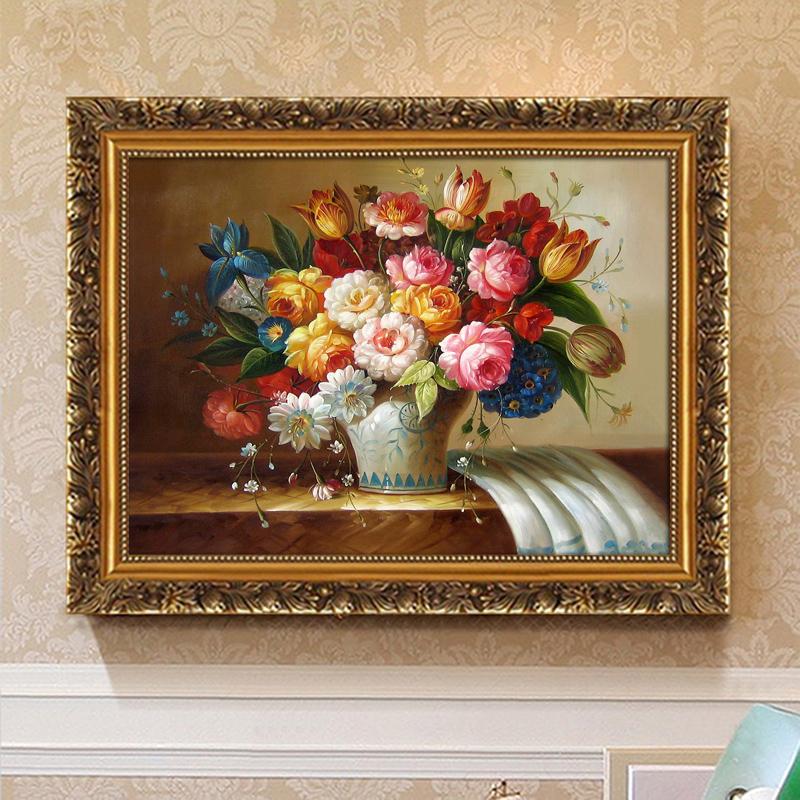 欧式三联客厅沙发背景墙装饰画壁画玄关餐厅卧室简欧挂画花开富贵