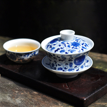 Changwuju Taste Hand-painted Blue and White Painted Branch Lotus Sancai Bowl Cover Cup Jingdezhen Hand-made Ceramic Tea Bowl and Tea Set