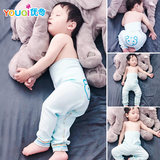 Baby sleep pants spring and autumn thin baby pure cotton pants high waist navel protection male baby line long Johns thermal single