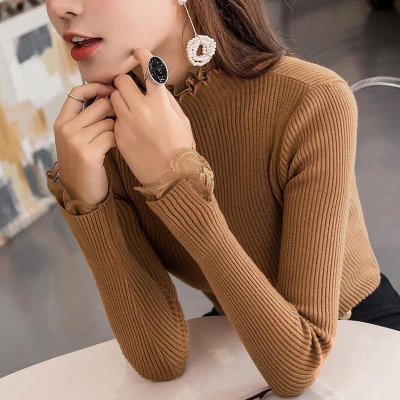 韓版蕾絲邊毛衣