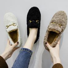 2018新款 冬季厚底毛毛豆豆鞋 欧洲风羊羔毛女鞋 一脚蹬加绒棉瓢鞋图片