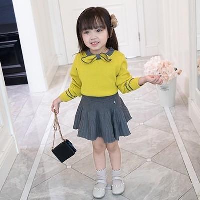 女童毛衣套装2018秋冬新款韩版女童毛衣针织半身裙宝宝两件套潮衣
