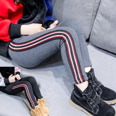 女童加绒加厚打底裤2018冬季新款儿童条纹休闲保暖裤宝宝修身长裤