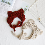 Children's ins knitted earcups Girl cute cat ears autumn and winter baby ear protection warm hand-made hair-line ear cover