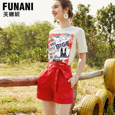 芙娜妮时尚套装女2019夏季印花小香风短袖T恤上衣系带短裤两件套