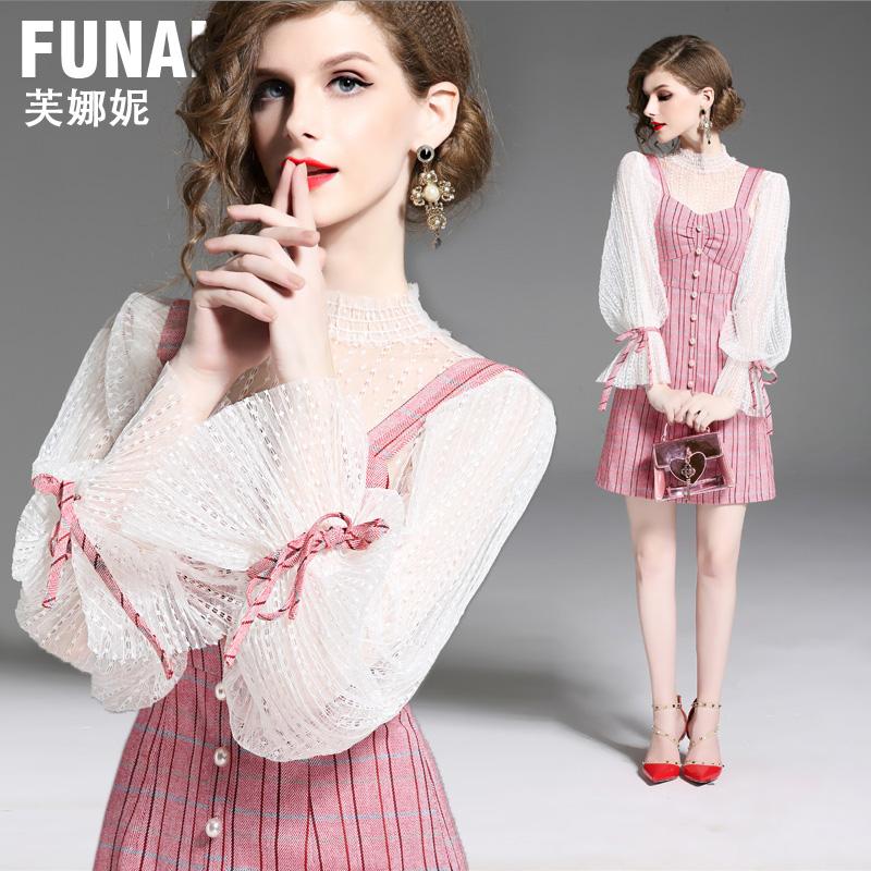 红色蕾丝长袖裙