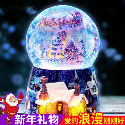水晶球雪花音乐盒八音盒生日礼物女生定制送女友儿童女孩新年礼物