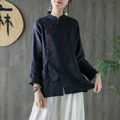 子着棉麻上衣中国风刺绣女装秋天上衣新款长袖外套亚麻衬衫2018ZY