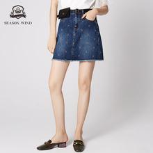 季候风2019春季商场同款休闲绣花毛边蓝色短款纯棉牛仔裙女图片