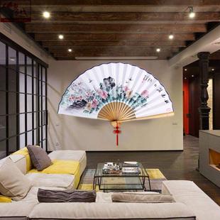 饰大扇子定制超大挂扇摆件折扇装 饰中国风挂墙 山越手绘梅兰竹菊装