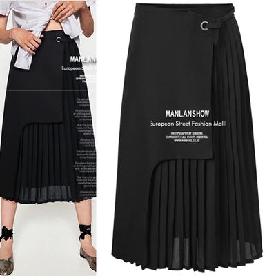 新款欧美风气质中裙雪纺拼接A字裙假两件高腰百褶侧开叉半身裙