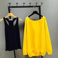 长袖 宽松简约两件套毛衣圆领针织衫 女套装 中长款 2019秋装 新款 韩版图片