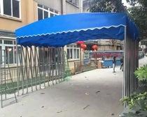 米乘大伞布四脚户外遮阳伞3米2遮阳棚伸缩小防水伸缩伞业布面折叠
