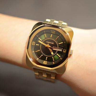 韩版潮流钢带方形石英表 休闲时尚女士防水星期日历土豪金手表谁买过的说说