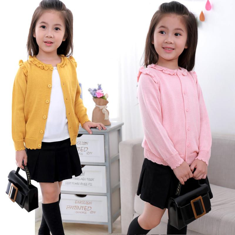 女童针织衫开衫纯色公主女宝宝春秋款上衣外套外搭中大童小童