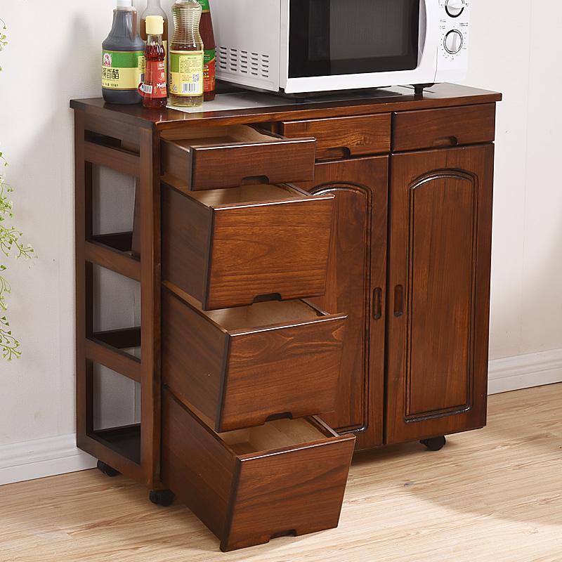 悠悠娃实木餐边柜微波炉柜餐厅柜碗柜橱柜储物柜茶水柜收纳置物柜