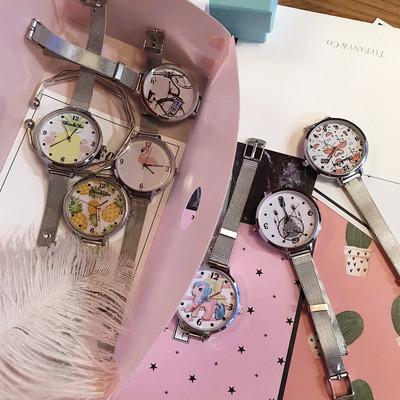 夏季日系少女小清新布带圆表绑带腕表休闲新款手表简约学生石英表