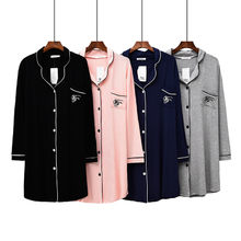 2018 nightdress female summer long-sleeved lapel pajamas stretch modal home dress air-conditioned room skirt