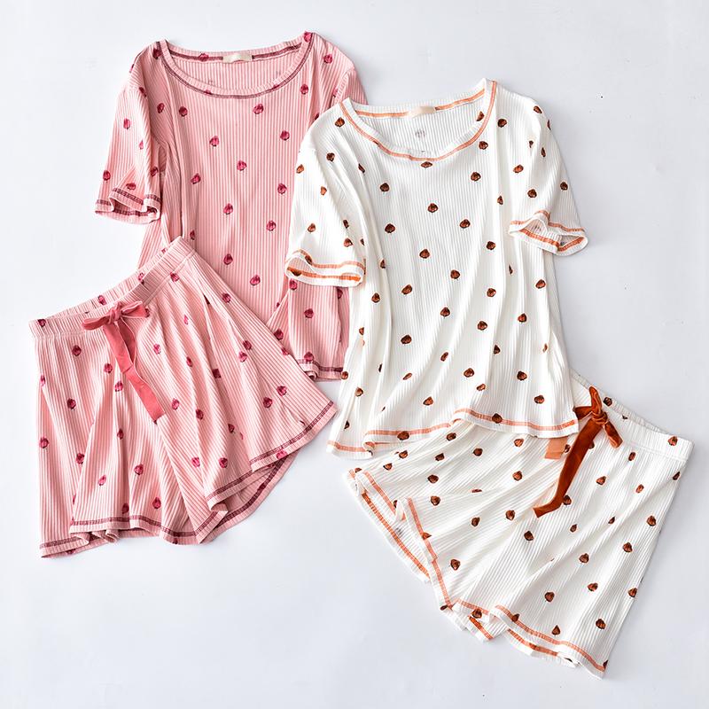 休闲短袖短裤全棉坑条草莓印花家居服套装纯棉睡衣女夏2018