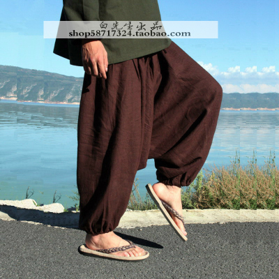 中国风草木染亚麻男女哈伦休闲垮裤 尼泊尔大裆裤大码宽松吊裆裤