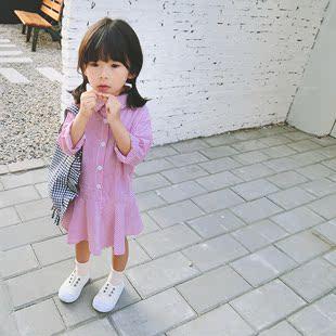 女童裙子春款童装2018中小童宝宝竖条纹长袖衬衫连衣裙公主裙