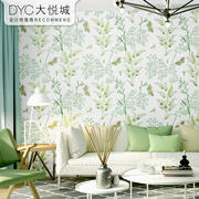 Small fresh wallpaper literary modern minimalist American pastoral style green small floral warm bedroom living room wallpaper