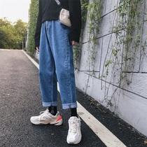 @方少男装ins超火的纯色简约春季新款直筒宽松牛仔裤潮休闲长裤