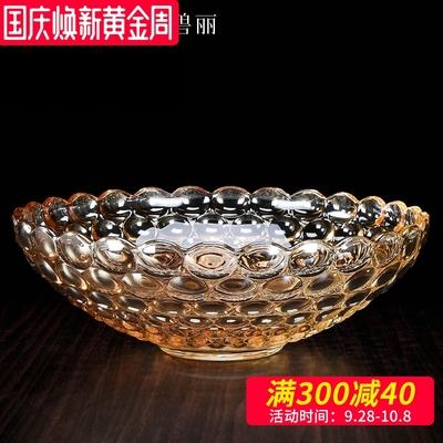 欧式玻璃水果盘创意家用时尚大号糖果盆珠光玻璃婚庆果篓