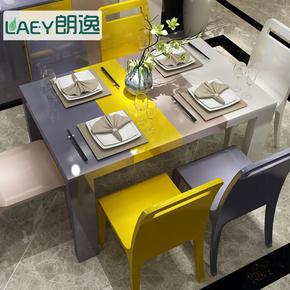 现代简约彩色 餐桌椅组合钢琴烤漆 餐台 6人餐台 吃饭桌