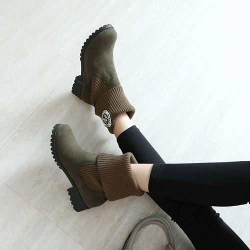 裸靴女秋季新款韩版单靴子毛线拼接骑士短靴休闲百搭学生踝靴大码