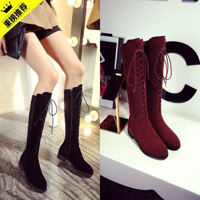 靴子女春秋高筒靴系带中长靴欧美马丁靴女平底磨砂皮弹力显瘦