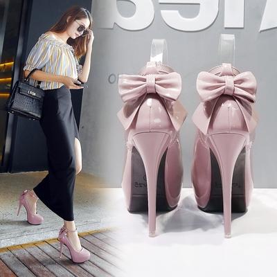 2016性感时尚12CM超高跟鞋细跟裸粉色裸色恨天高漆皮12公分单鞋女