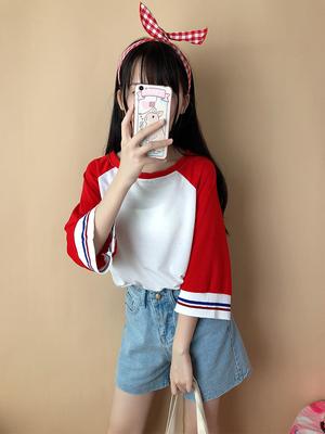 T恤女上衣秋装2018新款宽松撞色中长款休闲长袖潮小清新韩版学生