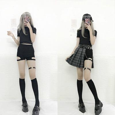 2018新款夏季女装韩版学生短袖T恤+短裤+皮带时尚休闲套装两件套