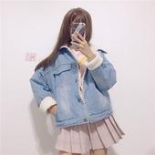冬季女装2017新款韩版牛仔短款加厚加绒长袖宽松外套萌学生小清新
