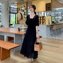 蓝语大码女装2019夏装新款法国小众连衣裙洋气显瘦胖妹妹mm小黑裙