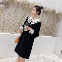 定制蓝语大码女装胖妹妹mm春装2019新款韩版连衣裙长袖直筒打底裙