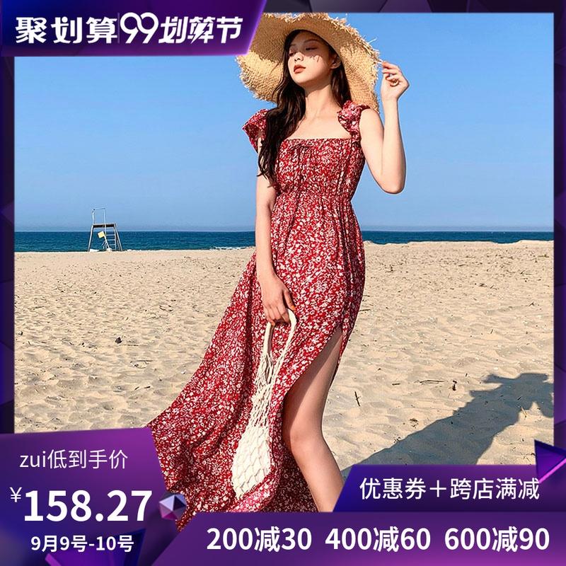 韩国chuu官网正品代购夏季新款度假风碎花侧开叉沙滩连衣裙