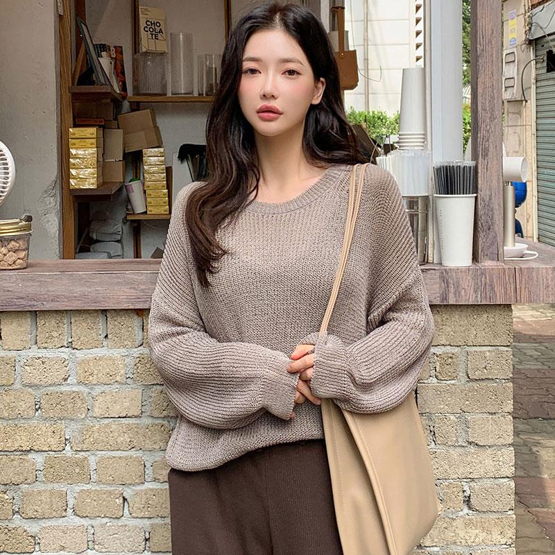 韩国chuu官网正品代购秋季新款粗线针织宽松基础纯色圆领毛衣