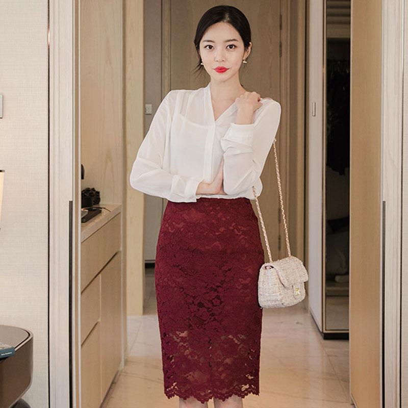 韩国chuu官网正品代购新款薄款气质雪纺衫长袖V领衬衫